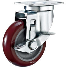 3'' Swivel Industrial PU Caster With PP Core With Side Brake