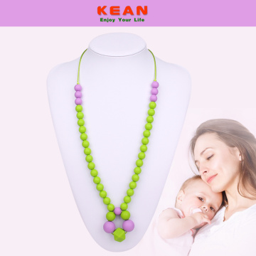 Silicone beaded necklace for baby teething