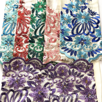 Light Color Background Rayon Satin With Plain Embroidery