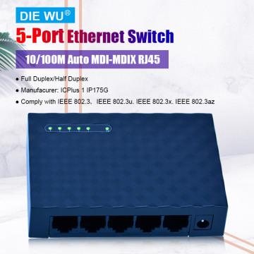 TXE029 5 Port 10/100M Ethernet Network Switch Ethernet Splitter   Plug & Play   Fanless   Traffic Optimization   Unmanaged