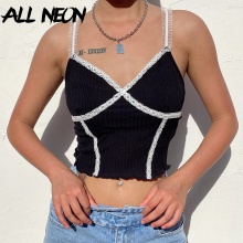 ALLNeon E-girl Ribbed Cross-criss Lace Trim Camis Top Y2K Summer Spaghetti Strap V-neck Ruffles Hems Backless Black Cropped Tops