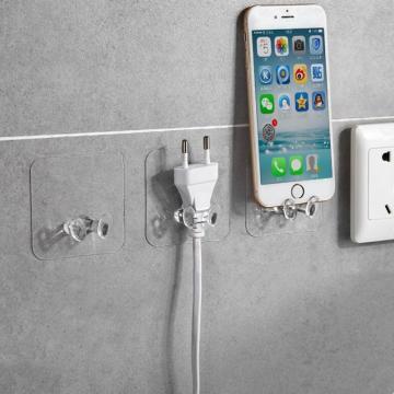 1/6Pcs Wall Storage Hook Power Plug Socket Holder Wall Adhesive Hooks Plug Hook For Kitchen Bathroom Accessories Storage