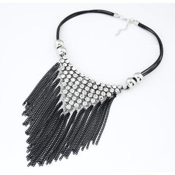 Strass Triangle collier déclaration Tassel Chain Necklace