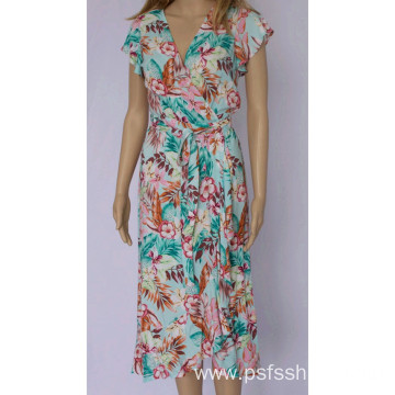 Women V Neck Long Dress