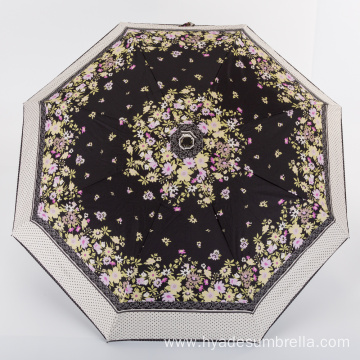 Lace Printing Umbrella Completely Shaded Folding