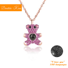 100 Languages I Love You Projection Little Bear Pendant Necklace Titanium Steel Fashion Trendy Women Jewelry Valentine's Day