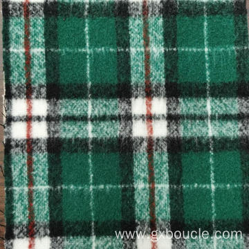 Woolen Boucle fashion Plaid design long brushing fabric
