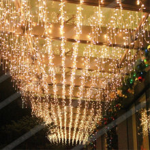 Luces de carámbano LED de patio blanco cálido cálido