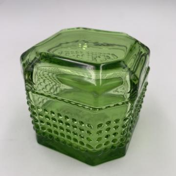 2020 Wholesale square green dot glass jar