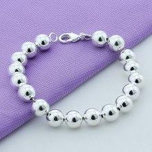 Brand Jewelry 925 Silver Jewelry 10mm Beaded Bracelet Bangles For Women High Quality Fashion Mens Silver Cuff Bracelet