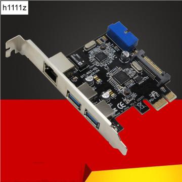 USB 3.0 Ethernet Adapter 3 Port USB 3.0 HUB 10/100/1000 Mbps PCI-E to RJ45 Gigabit Network LAN Adapter Usb Ethernet Network Card