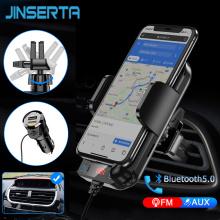 2021 Bluetooth 5.0 FM Transmitter w/Phone Holder Car MP3 Player Handsfree Car Kit Support TF Card U Disk AUX Music Player