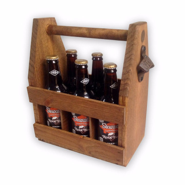 Brown 6 Package Box Custom Logo Custom Wooden Box Beer caddy