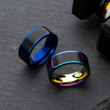 Groove Rings Black Blu Stainless Steel Midi Rings For Men Charm Male Jewelry Smart Accessories Dropshipping