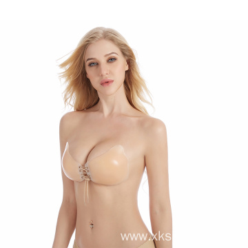 seamless lace up push up self adhesive bra