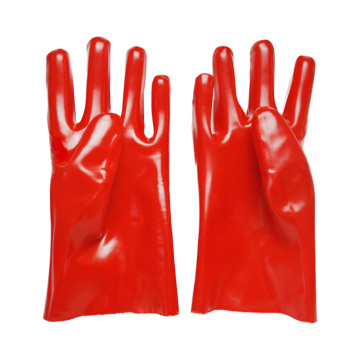Red PVC Coated Glove.Smooth Finish