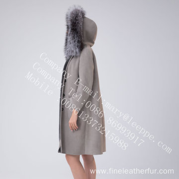 Hooded Winter Spain Merino Shearling Coat For Women
