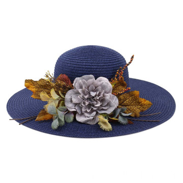 Large flower decoration women straw hat