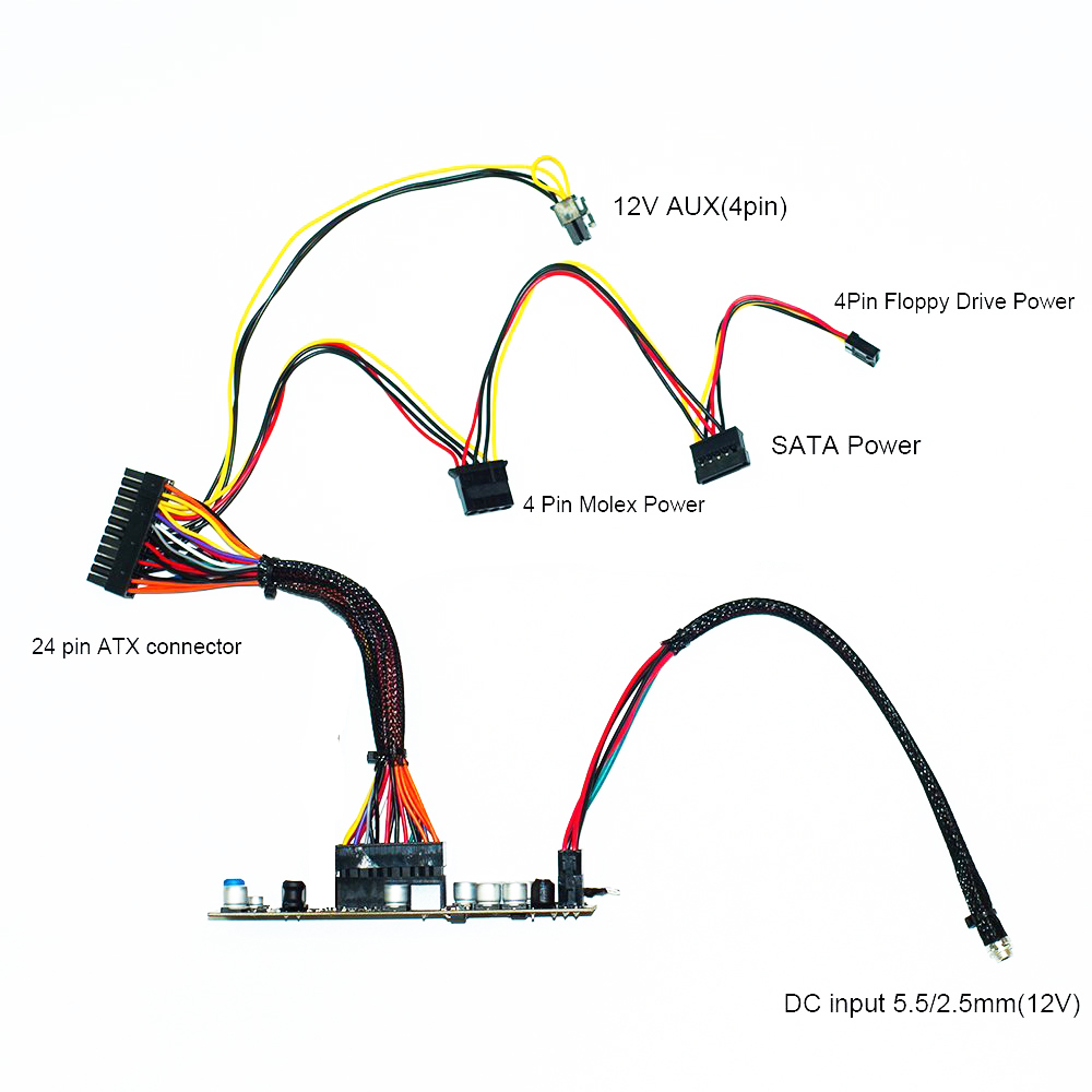 RGEEK 12V 150W DC ATX Peak PSU Pico ATX Switch PSU 24pin MINI ITX DC to ATX PC Power Supply Car PC Power Supply For Computer