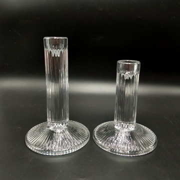 Clear Vintage Glass Pillar Candle Holders