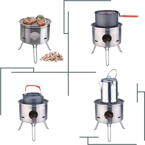 Outdoor Stainless Steel Foldable Camping Wood Stove