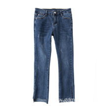 Scratches Raw Edge Side Slit Jeans with Nine Cut for Women