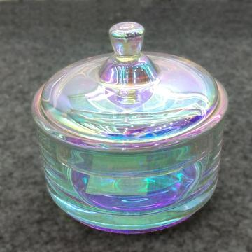 Rainbow Effect Crystal Glass Candy Box Cake Jar
