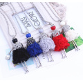 Silver Cute Girl Chain Necklace Long Design Sweater Necklace