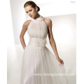 Empire A-line Round Neck Chapel Train Yarn Draped X-straps Wedding Dress