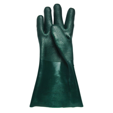 Green PVC coated gloves 35cm