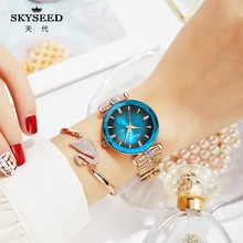 SKYSEED fashion tempered mineral glass mirror ladies watch