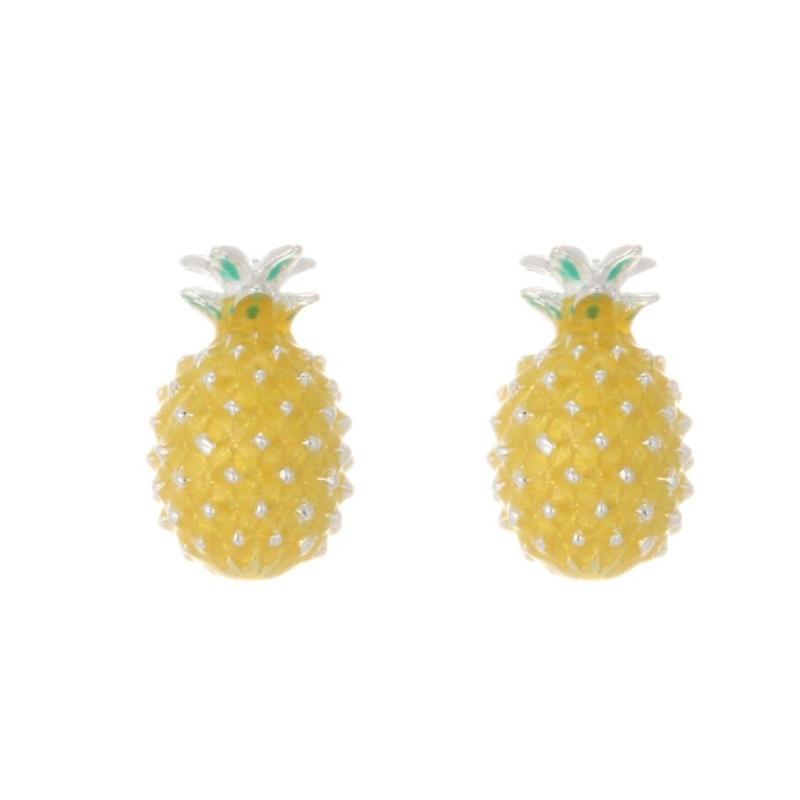 Fresh Cute Pineapple Literary Korea 925 Sterling Silver Temperament Personality Trendy Female Stud Earrings SEA144
