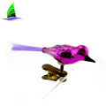 Long Feather Tails Bird with Clip Glass Ornaments