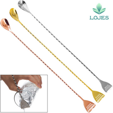 Japanese Style Stainless Steel Bar Spoon Best Bartender Christmas Present Bar With Strainer Tail 400mm