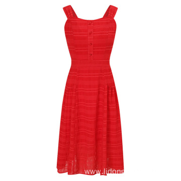 Sling Red Clothes Cotton Blends Summer Dress