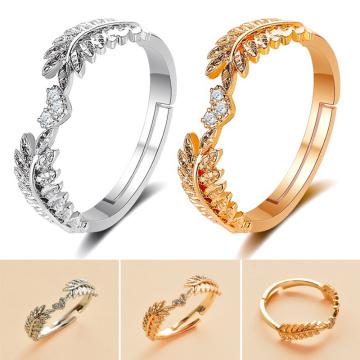 Fresh Sweet Leaf Adjustable Ring Female Light Luxury Olive Branch Finger Ring HSJ88