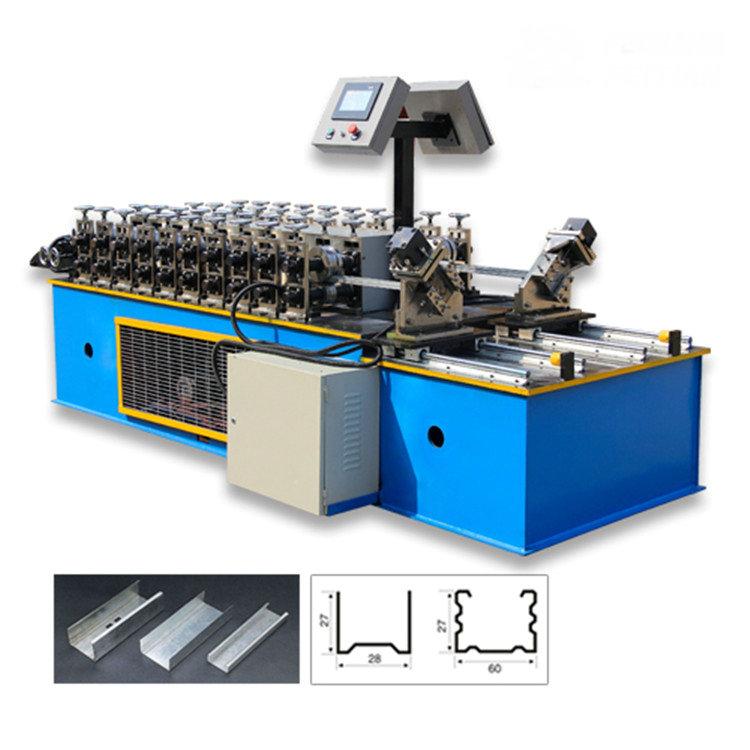 combined two line ceiling channel light gauge steel stud roll forming machine