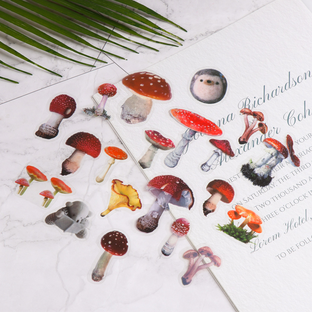 40Pcs/pack Mushroom Flowers Decorative Plant Paper Stickers DIY Handbook Diary Scrapbook Stickers School Stationery Supplies