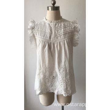 Ladies Blouse with Ruffle Sleeve Cotton Lace