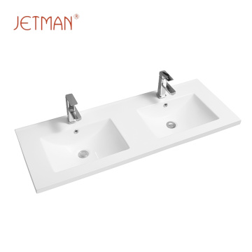 Rectangular ceramic hand water sink bathroom double wash basin