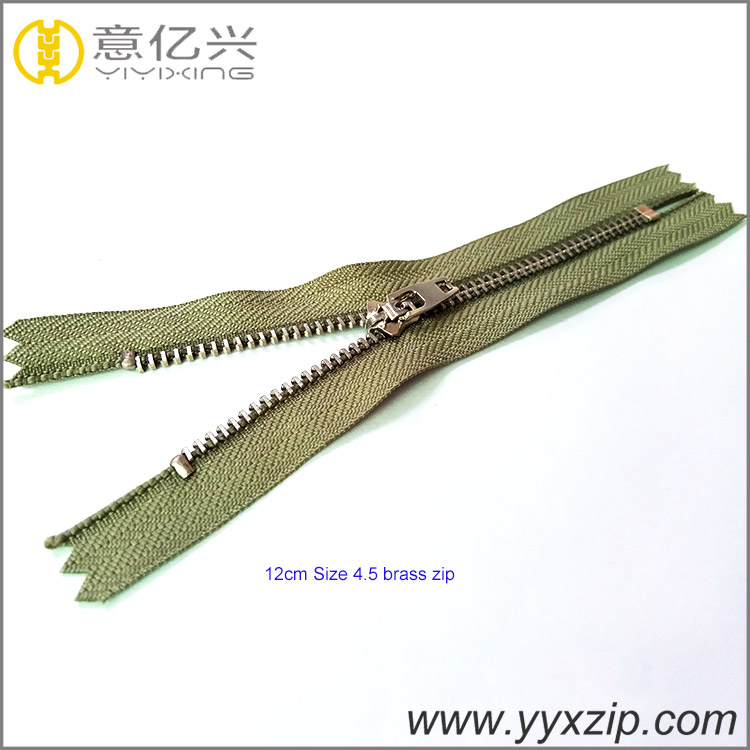 shinny gold metal zipper