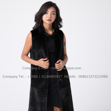 Black Fashionable Mink Vest For Women
