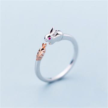 Sole Memory Cute Sweet Rabbit Eating Radish Fresh 925 Sterling Silver Female Resizable Opening Rings SRI406