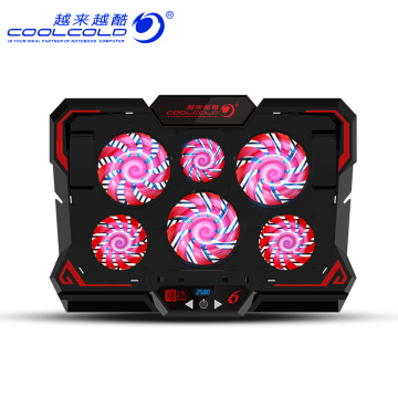 COOLCOLD 17 inch Gaming Laptop Cooler Six Fan Led Screen Two USB Port 2600RPM Laptop Cooling Pad Notebook Stand for Laptop