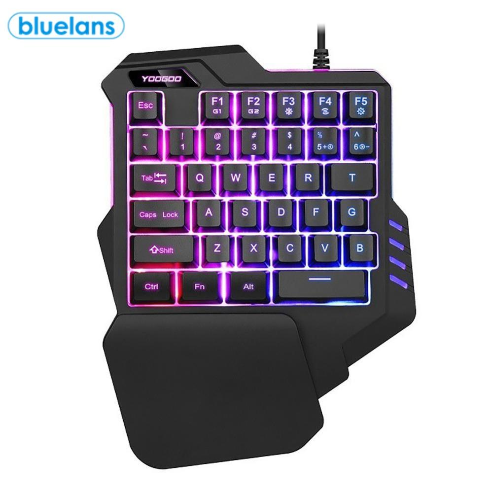 G92 35 Keys Wired Gaming Keypad Keyboard with Wrist Pad with LED Backlight 35 Keys One-handed Membrane Keyboard for LOL/PUBG/CF