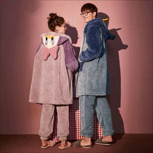 Cartoon Duck Hat Couple Pajamas Women Flannel Sleepwear Men's Home Service Suits Autumn and Winter Thickened Hooded Nightgown