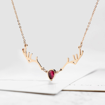 New Style Ruby Crystal Rose Gold Antler Necklace