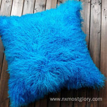 "18"" x 18"" Tibetan Lamb Fur Pillow Single Sided Fur"