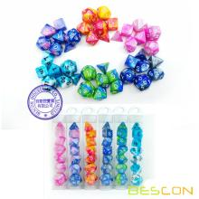 Bescon Mini Gemini Two Tone Polyhedral RPG Dice Set 10MM, Mini RPG Dice Set D4-D20 in Tube Packaging, Assorted Colored of 42pcs