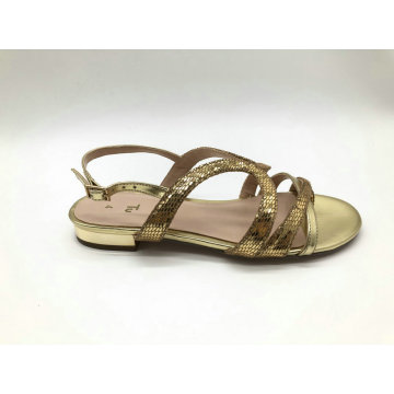 ladies multi stripe with metal heel sandal